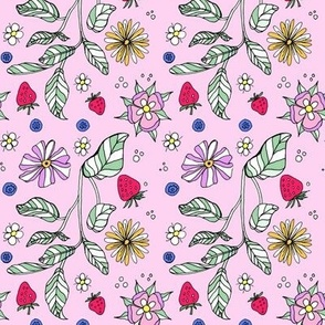 Flowers, plants, and berries on pink