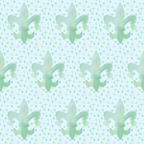 Fleur De Lis Baby Small with dots fabric by arwenartanddesign on Spoonflower - custom fabric