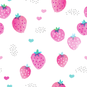Water colors hot pink summer strawberry fruit hearts print