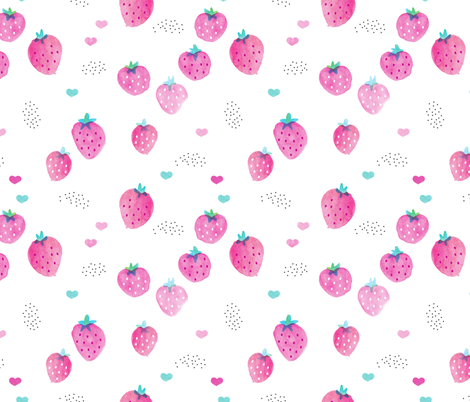 Water colors hot pink summer strawberry fruit hearts print fabric by littlesmilemakers on Spoonflower - custom fabric
