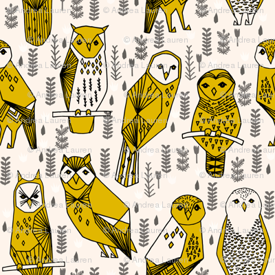geo owls // large mustard and cream owls birds hand-drawn illustration seamless repeat by Andrea Lauren