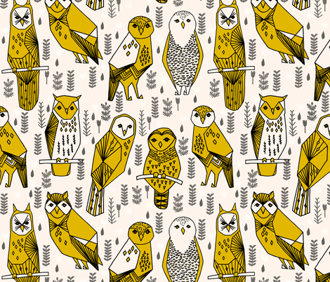 geo owls // large mustard and cream owls birds hand-drawn illustration seamless repeat by Andrea Lauren fabric by andrea_lauren on Spoonflower - custom fabric