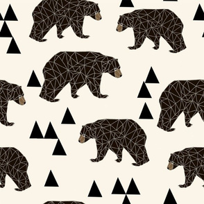 geometric bear // x-large print large print triangle bear in cream