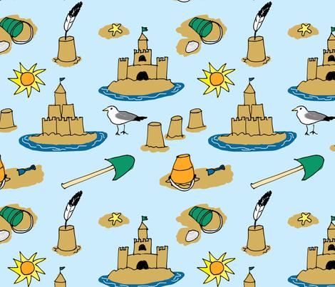 Large Sandcastles fabric by eileenmckenna on Spoonflower - custom fabric