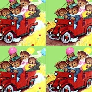 antiques cars automobiles bears family parents children father mother children balloons auto race roads fields traveling vintage retro kitsch