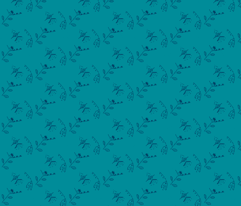 teal meadow with navy flower embroidery fabric by anniezs on Spoonflower - custom fabric