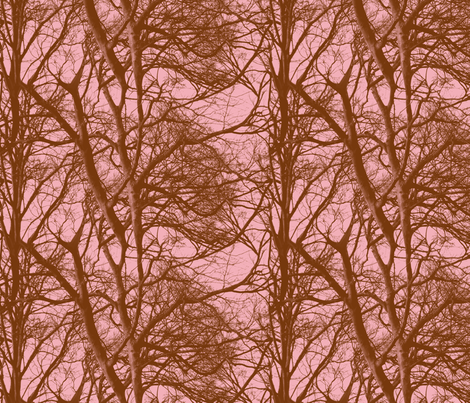 The Tree Lace ~ Pink & Brown ~ Medium fabric by peacoquettedesigns on Spoonflower - custom fabric