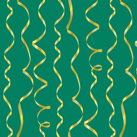 yellow ribbons on blue-green fabric by weavingmajor on Spoonflower - custom fabric