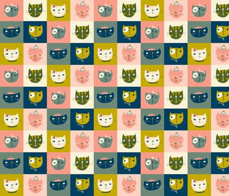 kitty checkers fabric by shindigdesignstudio on Spoonflower - custom fabric