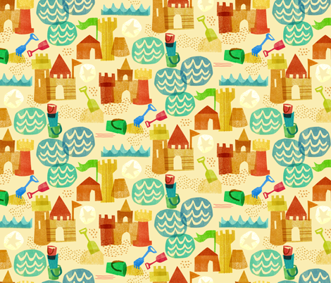 Greta Songe Sandcastles fabric by gsonge on Spoonflower - custom fabric