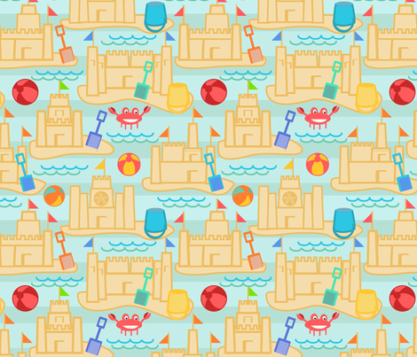 Summer Sandcastles and Crabs fabric by pixabo on Spoonflower - custom fabric