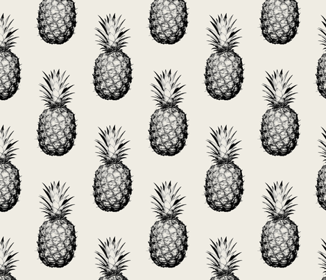 Pineapples black and cream large wallpaper for Black and cream wallpaper