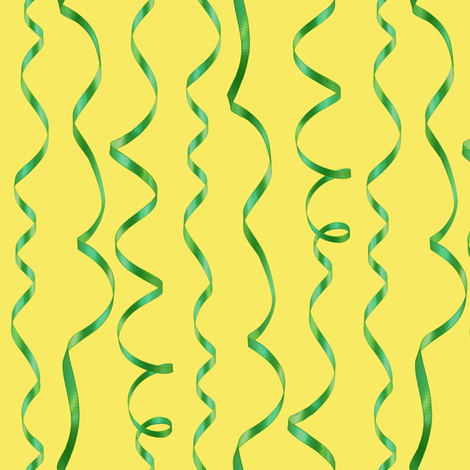 green curling ribbons on yellow fabric by weavingmajor on Spoonflower - custom fabric