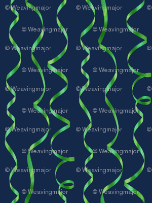 green curling ribbons on navy