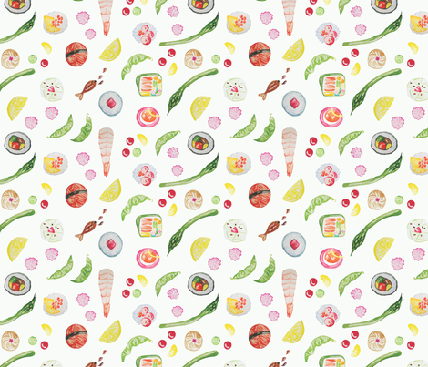 Watercolour Sushi fabric by littlemarymi on Spoonflower - custom fabric