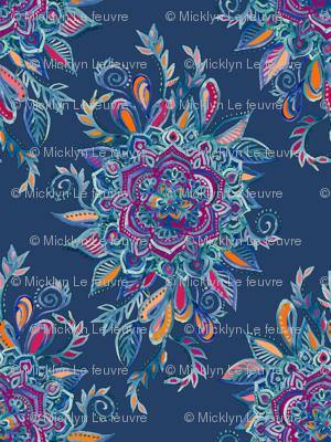 Deep Summer - Watercolor Floral Medallion