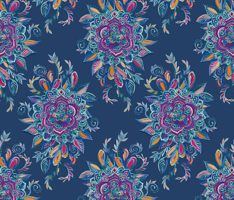 Deep Summer - Watercolor Floral Medallion  fabric by micklyn on Spoonflower - custom fabric