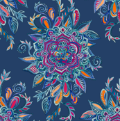 Deep Summer - Watercolor Floral Medallion