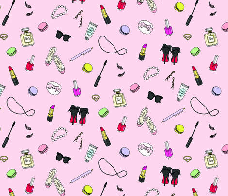 Girly Things Pink fabric by emmakisstina on Spoonflower - custom fabric