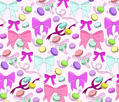 Macarons & Bows fabric by emmakisstina on Spoonflower - custom fabric