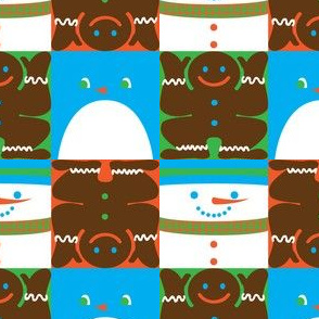 Holiday Squares Blue Penguin