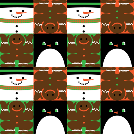 Holiday Squares Black Penguin fabric by amyperrotti on Spoonflower - custom fabric