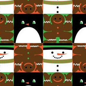 Holiday Squares Black Penguin