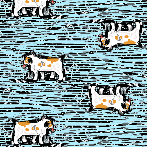Bulldogs on Blue Woodcut fabric by eclectic_house on Spoonflower - custom fabric