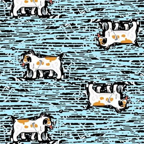 Bulldogs on Blue Woodcut