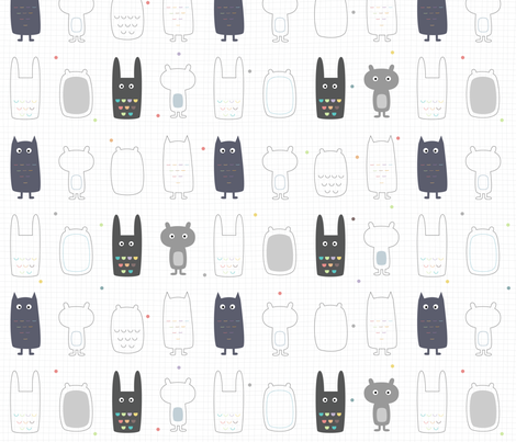 creatures fabric by la_fabriken on Spoonflower - custom fabric