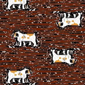 Bulldogs on red woodcut