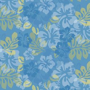 Hawaiian Lei Flower Pattern in Blues & Yellow