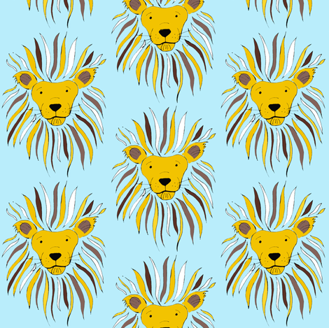 Lion's Mane on blue fabric by tarareed on Spoonflower - custom fabric