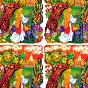 peasants girls dogs forests trees traveling flowers fairy tales vintage retro kitsch adventures fairy tales