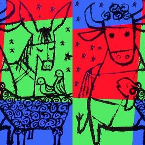merry christmas stars bulls cows donkeys lambs sheep doves birds abstract colorful pop art animals neon vintage retro kitsch
