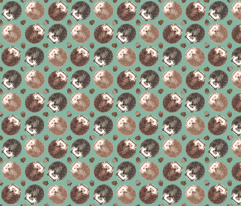 Hedgehog Scatter Moss fabric by meganmerz on Spoonflower - custom fabric