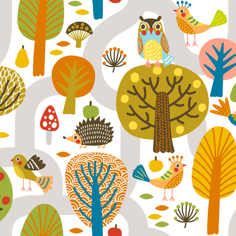 hedgehogs and birds fabric by mirabelleprint on Spoonflower - custom fabric