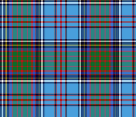 "Anderson family tartan, azure/green, 12"" fabric by weavingmajor on Spoonflower - custom fabric"