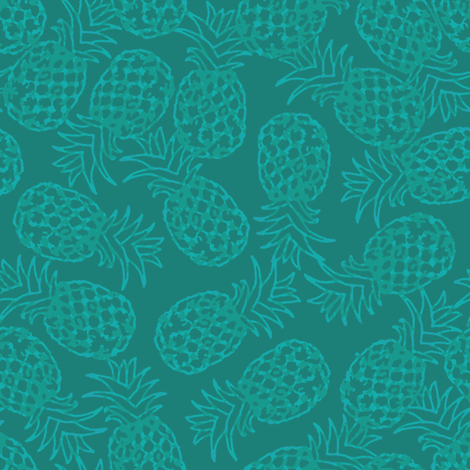 Teal pineapple toss fabric by rick_rack_scissors_studio on Spoonflower - custom fabric