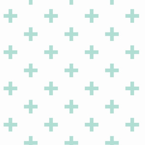 mint and white swiss cross
