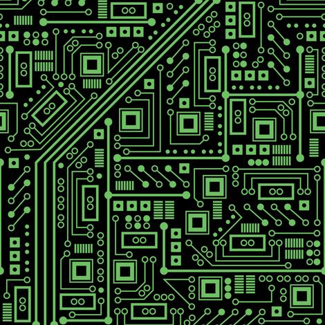 Evil Robo Circuit Board (Green) fabric by robyriker on Spoonflower - custom fabric