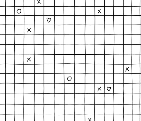 black white xoxo checkered grid fabric by primuspattern on Spoonflower - custom fabric