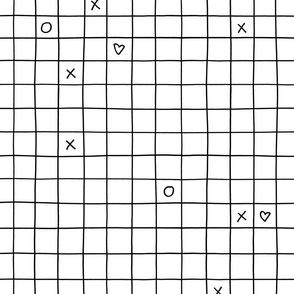 black white xoxo checkered grid