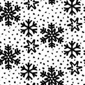 black white small snowflakes dots