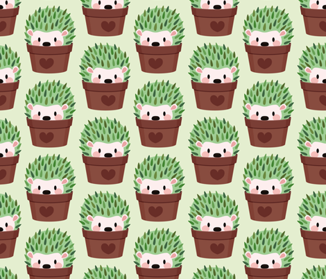 Hedgehogs disguised as cactuses fabric by petitspixels on Spoonflower - custom fabric