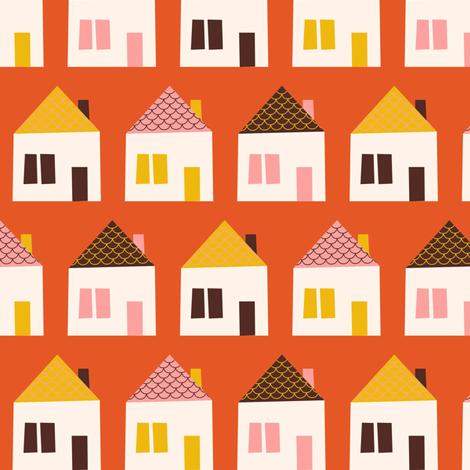 Around Town Orange Houses fabric by zesti on Spoonflower - custom fabric