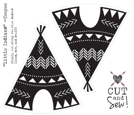Cut & Sew Teepee-Black & White fabric by bohemiangypsyjane on Spoonflower - custom fabric