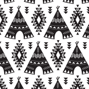 Tribal Teepees-Black & White