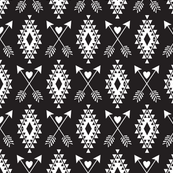 Tribal Aztec w/ Hearts & Arrows-Black & White