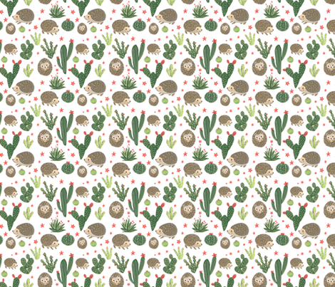 Prickly Friends - Hedgehog & Cacti fabric by dolls_in_trees on Spoonflower - custom fabric